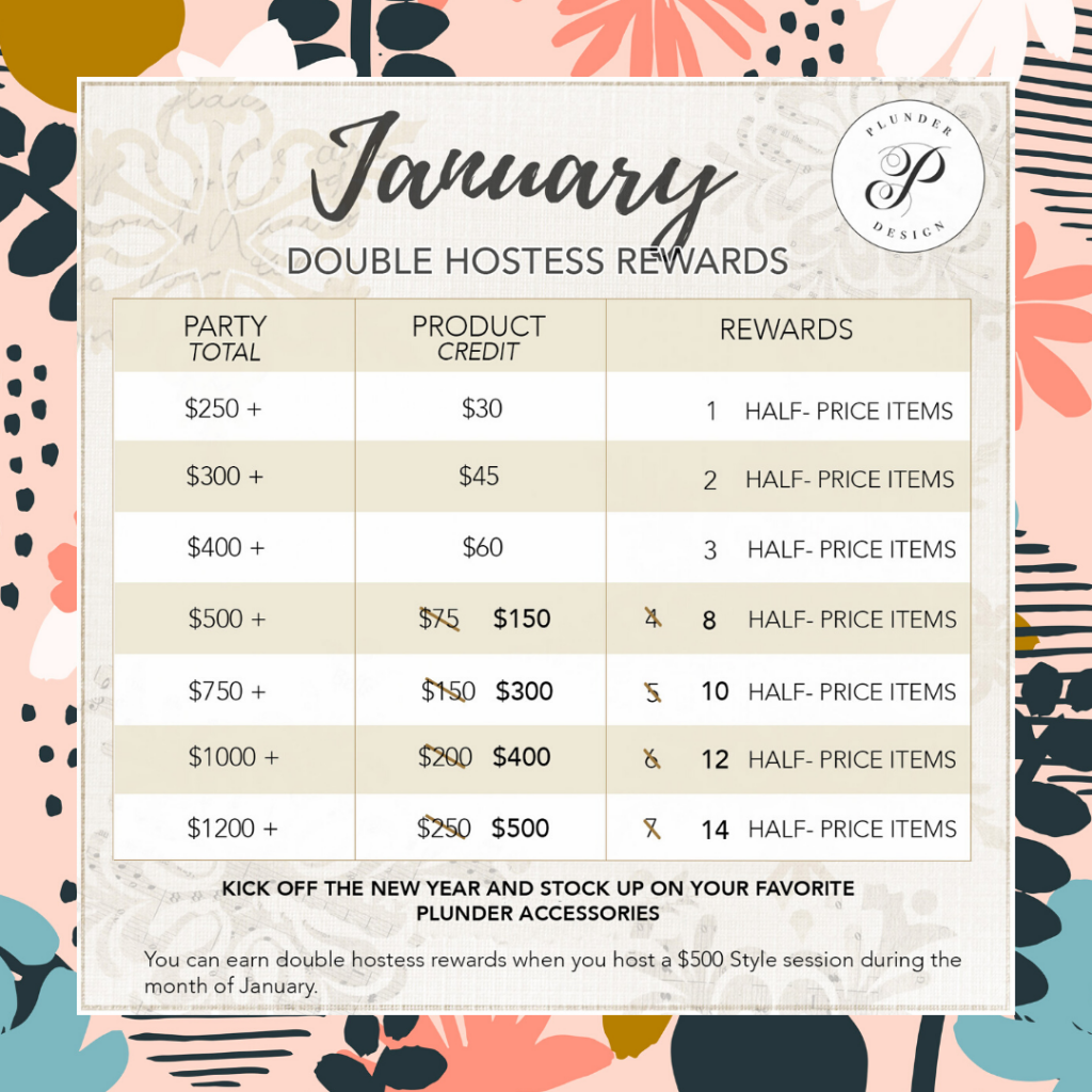 Double Hostess Rewards in January plunder jewelry