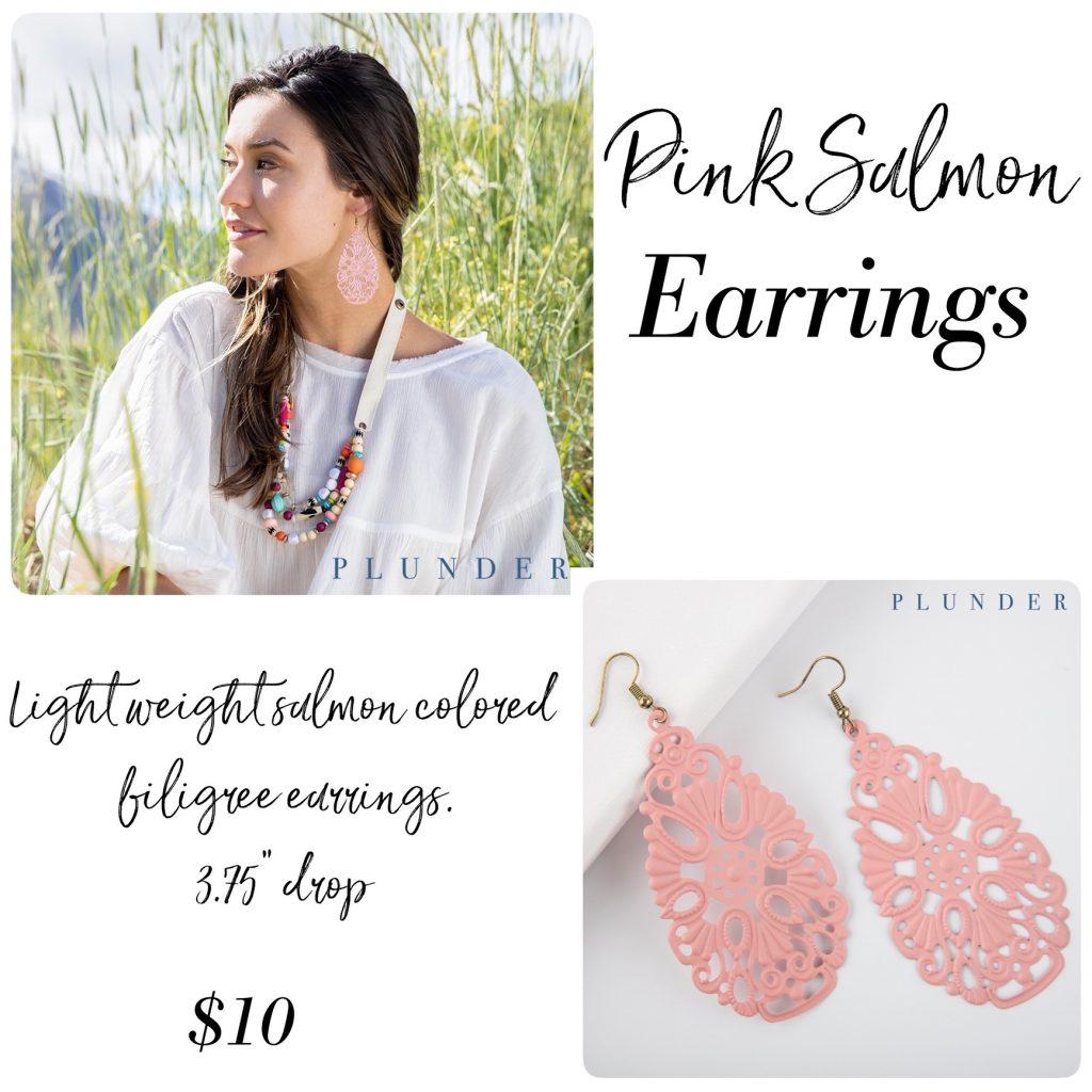 pink salmon earrings Plunder Design Jewelry
